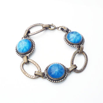Art Deco Bracelet Star Sapphire Blue Silver Link Machine Age Antique 1930s Jewelry