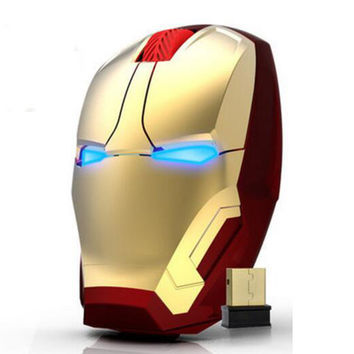 New Iron Man Mouse Wireless Mouse Gaming Mouse gamer Mute Button Silent Click 800/1200/1600 DPI Adjustable computer mice