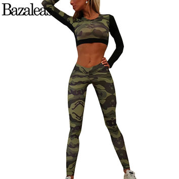 Bazaleas 2017 Spring Camouflage Print Suit Women Tracksuit Elasticity Two Piece Set Suit Sexy Crop Top And Trouser