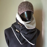 Men scarf. Extra Wide, Drak grey wool 100%. Trendy, modern and cozy. READY TO SHIP.