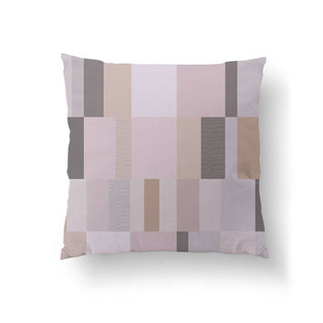 Subdued Rectangles, Cushion Cover, Pink Gray Pattern, Minimal Pillow, Home Decor, Throw Pillow, Modern Art, Decorative Pillow, Mid Century