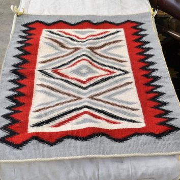 "Navajo Rug Tapestry Throw Wall Hanging 25"" x 21 1/2"" Vintage Hand Dyed Woven Wool Textile Traditional Colors Red Black Gray White Brown"