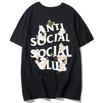 ANTI SOCIAL SOCIAL CLUB 2019 new cherry blossom butterfly print men's and women's round neck half sleeve shirt Black
