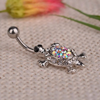 Multicolor Crystal Cute Turtle Dangle Body Piercing Navel Belly Button Ring Bar Women Dance Ring