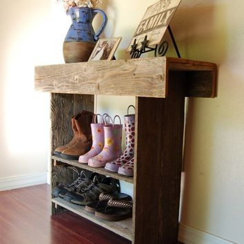 Reclaimed Cedar Wall Table Console Entry Christmas SALE. Order Early Cottage Decor 36x30x12 2 Bottom Shelves. Custom Made To Order