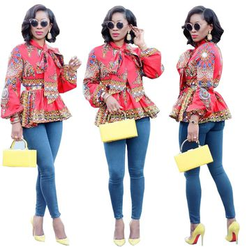 Dashiki Red Peplum Tops
