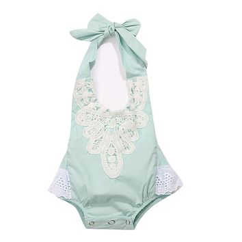 Baby Girls Straps Halter Bodysuit Infant Toddlers Sleeveless Lace Jumpsuit Backless Sun suit