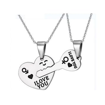 Fashion Korean Pendant Necklaces Engrave I Love You Matching Hearts Couple Necklace Set 316L Stainless Steel 1 pair