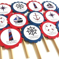Nautical Cupcake Toppers in Navy Blue and Red | Adore By Nat