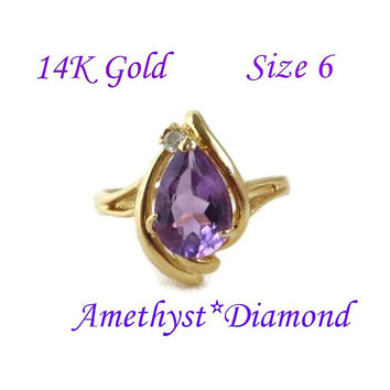 14K Gold Amethyst Ring - Vintage Pear Shaped Amethyst & Diamond Accent Ring, Size 6, Perfect Gift, Gift Box, FREE SHIPPING