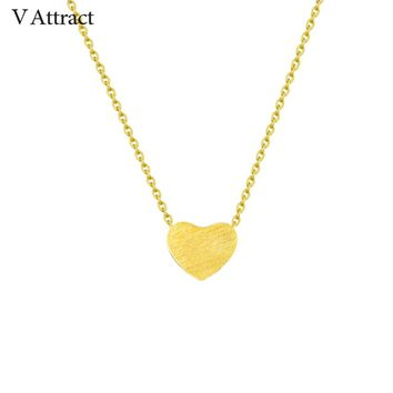 V Attract BFF Jewelry Stainless Steel Chain Choker Necklace Women Rose Gold Ketting Dainty Tiny Heart Shaped Necklaces Pendants