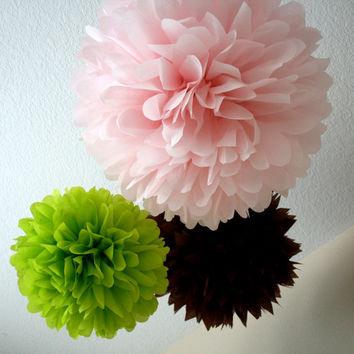 Little Girl... 3 tissue paper poms // wedding decorations // diy // nursery decor // birthday // party decorations