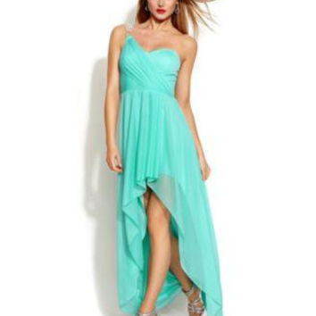 XSCAPE ONE-SHOULDER HIGH-LOW GOWN AQUA 8