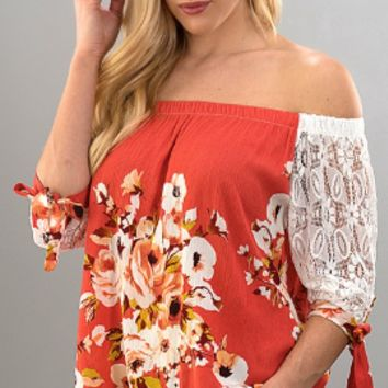 Floral Off The Shoulder Top W/Lace Sleeves