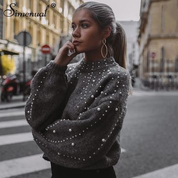 Bead Embellished Puff Sleeve Sweater
