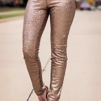 Show Stopper Sequin Leggings-Gold