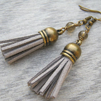 Smoky Quartz Tassel Earrings, Gemstone Earrings, Grey Faux Leather Tassel Earrings, Boho Vegan Dangle Earrings, Antiqued BRONZE, TE4