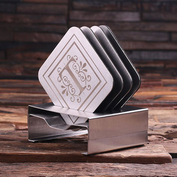 Personalized Stainless Steel Coasters with Wood Gift Box