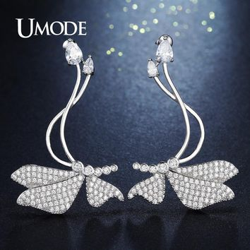 UMODE Unique Design Big Luxury Butterfly Shape Long Drop Earrings for Women Fashion Jewelry Pendientes Mujer Dating Gift AUE0277