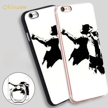 Minason michael jackson sticker Mobile Phone Shell Soft TPU Silicone Case Cover for iPhone X 8 5 SE 5S 6 6S 7 Plus