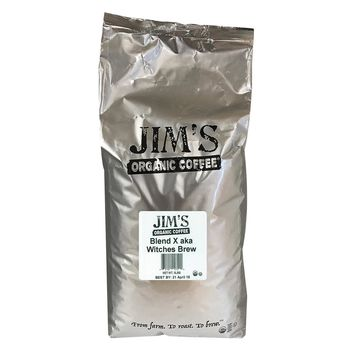 Jim's Organic Coffee - Whole Bean - Blend X Aka Witches Brew - Bulk - 5 Lb.