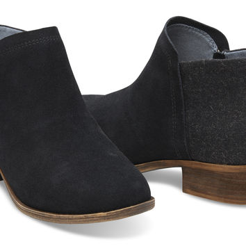 BLACK SUEDE AND WOOL WOMEN'S DEIA BOOTIES