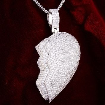 Men's Iced Out Love Broken Heart Double Layer Pendant Chain
