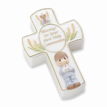 Precious Moments Boys First Communion Porcelain Box & Rosary