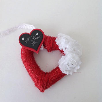 Heart wreath, red wrapped twine heart, wall decor, door decor, mini heart wreath, valentine's wreath, love wreath