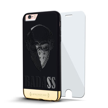 BADASS SKULL DESIGN VELVET BLACK & GOLD CASE FOR IPHONE 6S PLUS + GLASS SHIELD