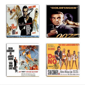 James Bond Movie Coasters Sublimated Bond Media Room Coasters Dr. No Russia