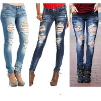 Women Jeans Skinny Blue Ripped Denim Pants Sexy Middle Waist Pencil Casual