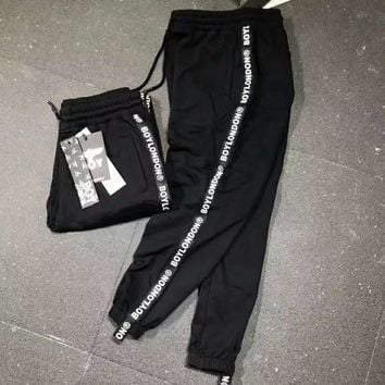 BOY LONDON Side Stripe Print Stretch Leggings Sweatpants Exercise Fitness Sport Pants Trousers G-YF-MLBKS