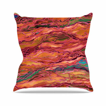 "Ebi Emporium ""Marble Idea! - Tropic Fusion"" Orange Red Outdoor Throw Pillow"