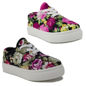 Toddler Girls Cay-04I Floral Print Canvas Low Rise Sneaker Shoes