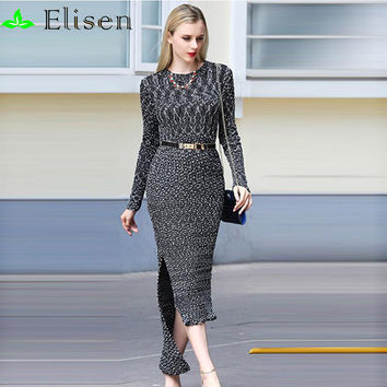 Luxury Dress 2016 Autumn Winter New Fashion Brand Slim Runway Full Sleeve Knitting Slim Belt Gray Elegant Long Dress