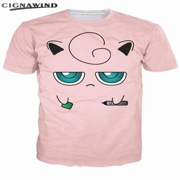 Classic anime t shirt men women Cartoon  Jigglypuff 3D printed funny t-shirts Short sleeve hip hop tshirt streetwearKawaii Pokemon go  AT_89_9