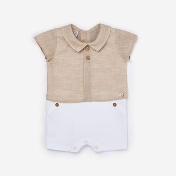 Paz Baby Boy's Natural Romper