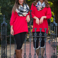 Slouchy Dolman Tunic, Red