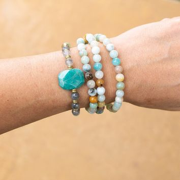 Amazonite and Cloudy Quartz Mala Bracelet