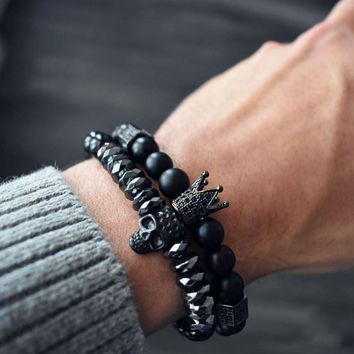 Hot Black Titanium Steel Skull Bracelet Men 8mm Onyx Natural Stone Beads Skull Charm Bracelet Male Jewelry Fashion
