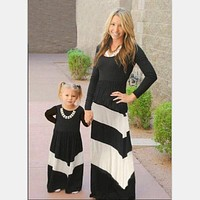 Mommy and Me Matching Long Sleeve Dresses Mother Daughter Dresses