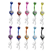 Browning SILVER Charm PREMIUM Color Titanium Anodized Sexy Belly Navel Ring - Custom Made To Order - High Quality