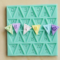 Random Color cooking tools Flag Shape 26 English Letters Silicone Mold Chocolate Fondant Cake Decorating Tools