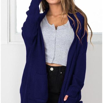 Blue Casual Knit Cardigan Jacket