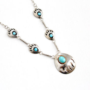 Vintage Sterling Silver Turquoise Blue Stone & Bear Claw Motif Necklace - Retro 1970s 1980s Navajo Native American Jewelry Hallmarked SJ