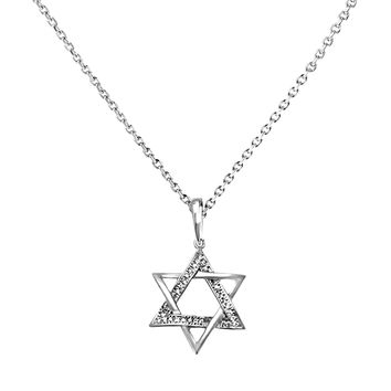 0.06ct Pavé Diamonds in 14K White Gold Star of David Pendant Necklace