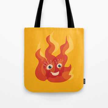 Happy Burning Cartoon Fire Tote Bag by borianagiormova