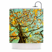 "Sylvia Coomes ""Autumn Tree"" Teal Yellow Shower Curtain"