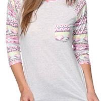 Empyre Georgina Multi Stripe Tribal Baseball Tee